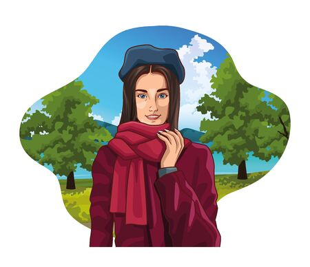 Pop art young french woman with beret and scarf in nature park scenery label frame ,vector illustration graphic design.