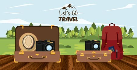 travel journey and tourism places with panama hat, suitcase and passport into a bag with lets go travel sign over a wooden floor and rural landscape icon cartoon vector illustration graphic design