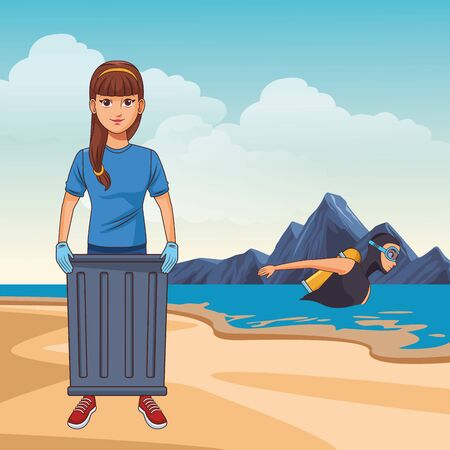cleaning service person woman with a trash can avatar cartoon character over sand with scuba diver in the sea and rock vector illustration graphic design