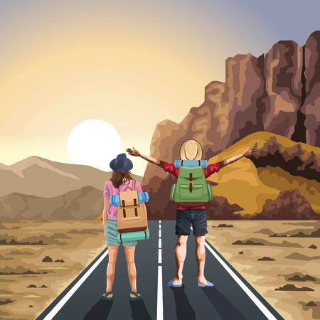 Backpack traveler couple standing with arms up on highway at desert vector illustration graphic design. Фото со стока - 130680544