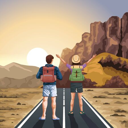 Backpack traveler couple standing with arms up on highway at desert vector illustration graphic design.