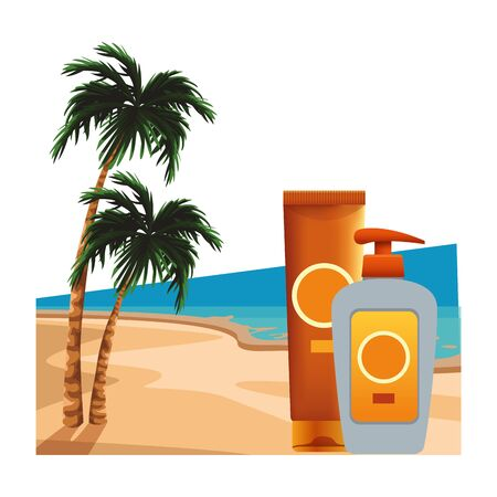Sun bronzers bottles cosmetic products on beach scenery background with palms ,vector illustration graphic design. Ilustração