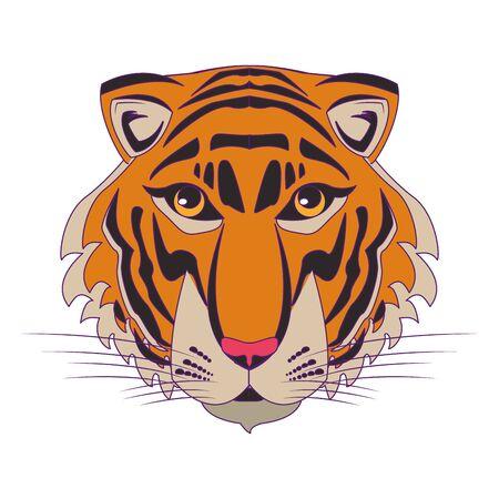 bengal tiger face icon cartoon vector illustration graphic design Stock Illustratie