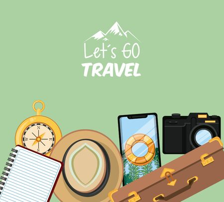 travel journey and tourism with panama hat, smartphone with a bouysaver imagen, photographic camera, compass and lets go travel sign with colorful background vector illustration graphic design Çizim