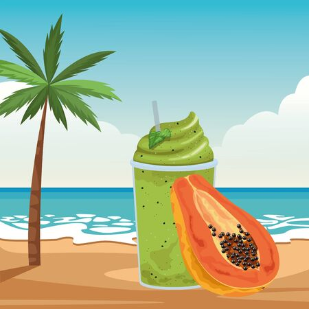 tropical fruit and smoothie drink with papaya icon cartoon over the beach with sea landscape vector illustration graphic design