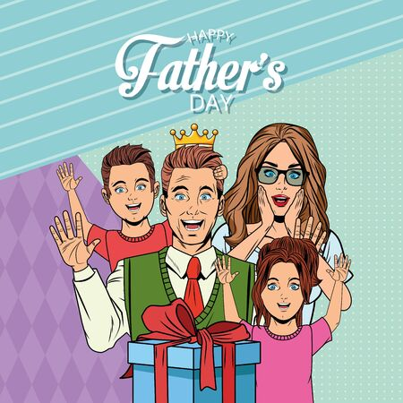 Happy fathers day card with dad mom and kids holding gift box pop art cartoons and background vector illustration graphic design Standard-Bild - 130681542