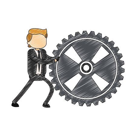 Businessman holding gear vector illustration graphic design