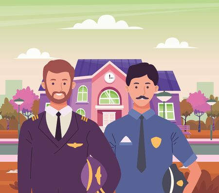 Professionals workers pilot and police officer smiling cartoons outside from school building ,vector illustration graphic design. Иллюстрация