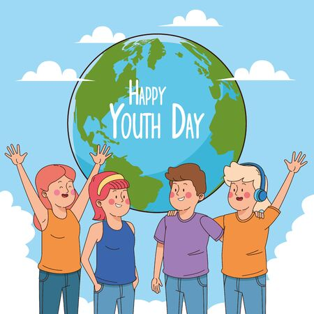 Happy youth day card with teenagers cartoons on earth world ,vector illustration graphic design. Çizim