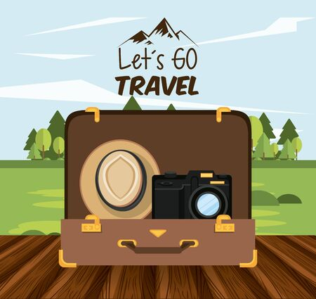 travel journey and tourism with panama hat, photographic camera into a briefcase over a wooden floor with a rural landscape and lets go travel sign vector illustration graphic design