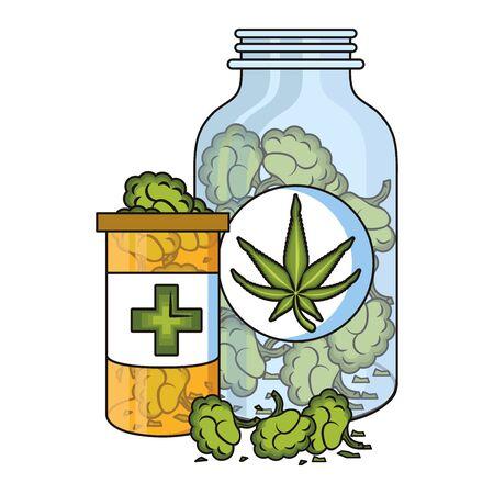 cannabis martihuana medical marijuana medicine sativa hemp buds bottles cartoon vector illustration graphic design