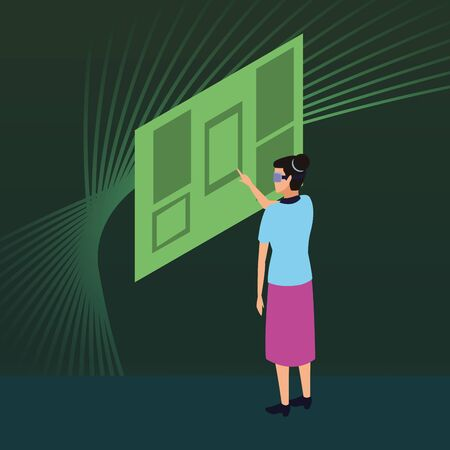 virtual reality technology, young woman living a modern digital experience with headset glassestouching screen cartoon on green digital background ,vector illustration. Illustration