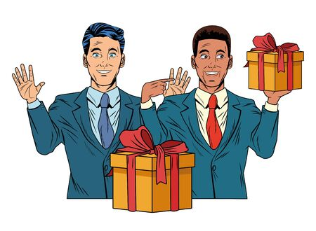 Homme afro-américain avatar hommes portant costume tenant une boîte-cadeau photo de profil personnage de dessin animé portrait illustration vectorielle design graphique