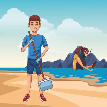 cleaning service person boy holding a dustpan avatar cartoon character over sand with scuba diver in the sea and rock vector illustration graphic design