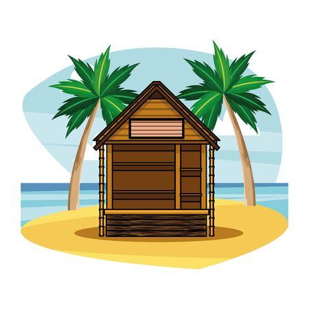 Beach wooden kiosk building house on beach scenery background vector illustration graphic design