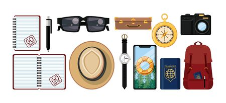 travel journey and tourism with panama hat, passport, smartphone with a bouysaver imagen, sunglasses, photographic camera, compass, wristwatch, briefcase and pencil vector illustration graphic design