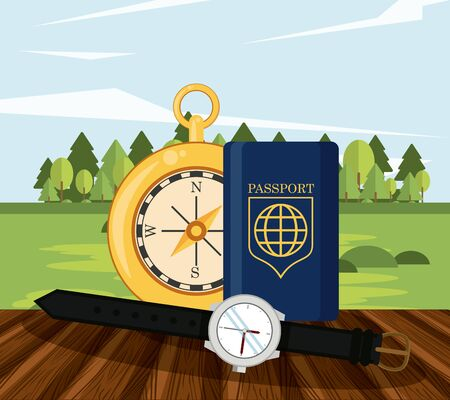 travel journey and tourism with passport, compass, wristwatch over a wooden floor and a rural landscape vector illustration graphic design