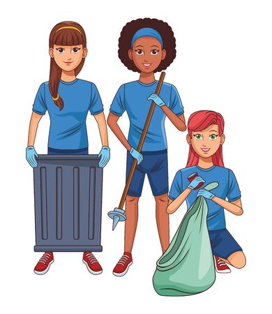 cleaning service person woman with braid holding a trash can, afromerican woman with garbage picker and woman putting a can into a garbage bag profile picture avatar cartoon character portrait vector illustration graphic design