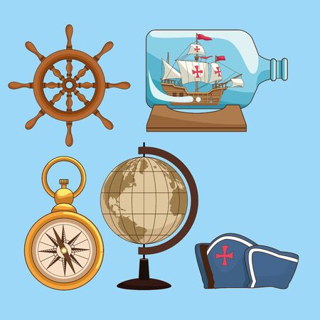 Antique sea navigation set of tools on blue background vector illustration graphic design Vettoriali