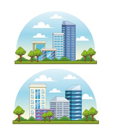 Set of City buildings and park with trees urban scenery cartoons ,vector illustration graphic design.