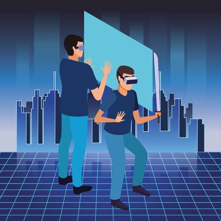 virtual reality technology, young men friends living a modern digital experience with headset glassesand sword touching screen cartoon ,vector illustration. Illustration