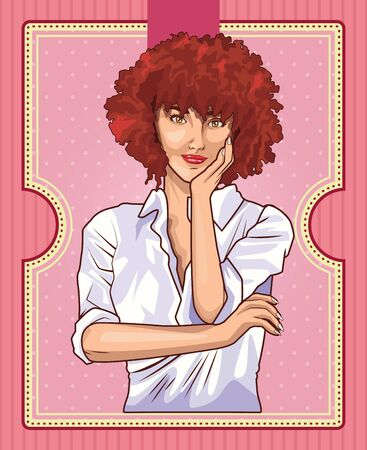 Pop art beautiful woman with curly red hair cartoon on pink background ,vector illustration graphic design. Illustration