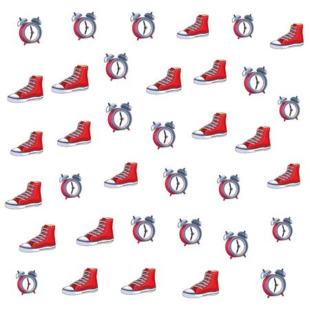 sneaker and alarm clock icon background pop art vector illustration graphic design