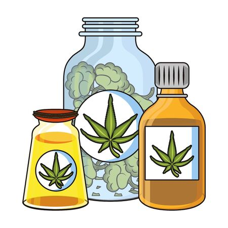 cannabis martihuana medical marijuana medicine sativa hemp oil bottles cartoon vector illustration graphic design Иллюстрация