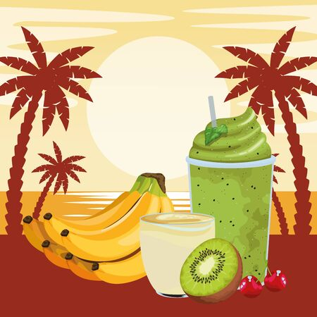 tropical fruit and smoothie drinks with banana cluster, kiwi and cherries icon cartoon over beach sunset landscape vector illustration graphic design Stok Fotoğraf - 130682069