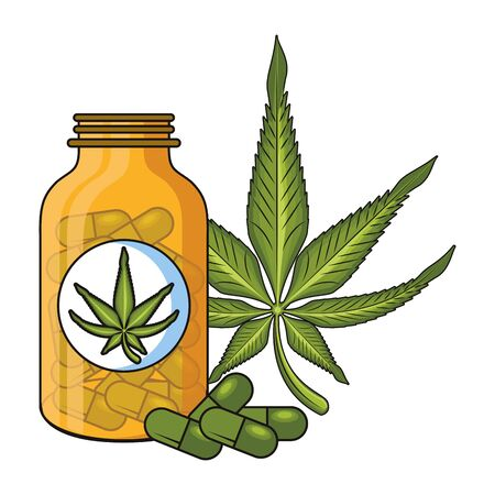 cannabis martihuana medical marijuana medicine sativa hemp pills bottle cartoon vector illustration graphic design Иллюстрация