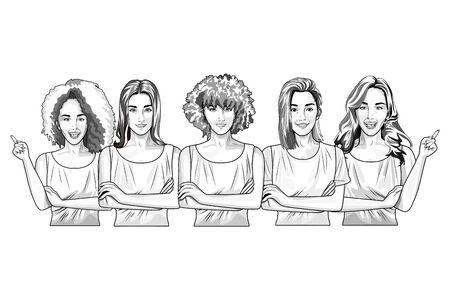 Pop art beautiful women models smiling cartoon ,vector illustration graphic design.