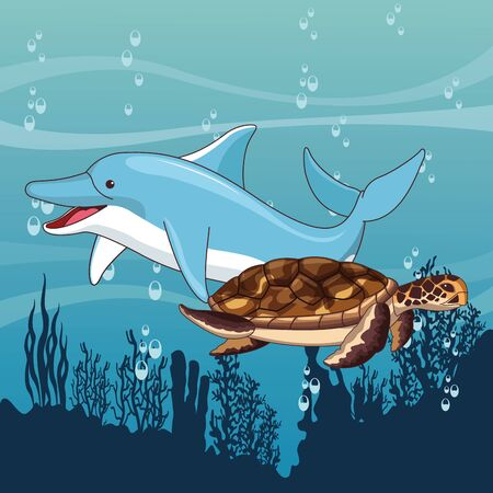 dolphin and turtle swimming together icon cartoon isolated at the bottom of the sea with underwater vegatation vector illustration graphic design