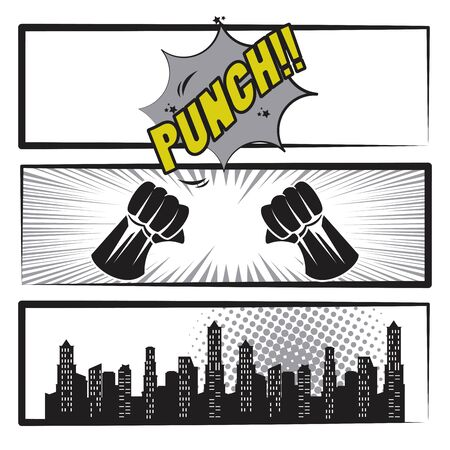 Comic book story with speech bubble, city and super hero fist punch ,vector illustration. Ilustração