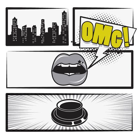 Comic book story with city, sexy lips and button ,vector illustration.