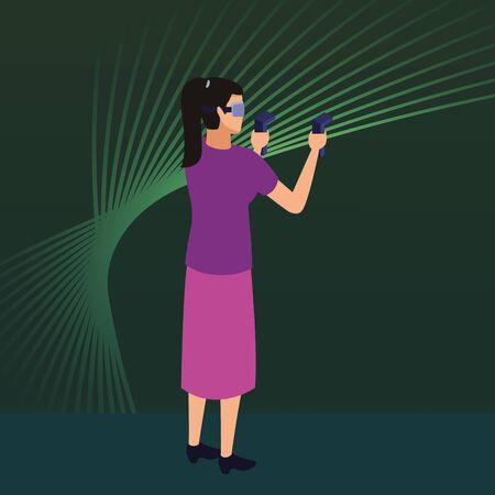 virtual reality technology, young woman living a modern digital experience with headset glassesand joysticks cartoon on green digital background ,vector illustration.