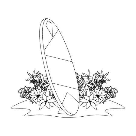 tropical summer relax holiday outdoor , vintage surf table at beach cartoon vector illustration graphic design Ilustración de vector