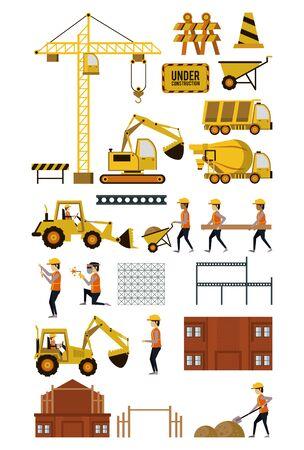 Conjunto de iconos en construcción, trabajadores y maquinaria, edificios y trabajo duro. diseño gráfico de ilustración vectorial