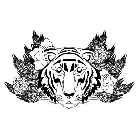 bengal tiger face wih flowers icon cartoon vector illustration graphic design