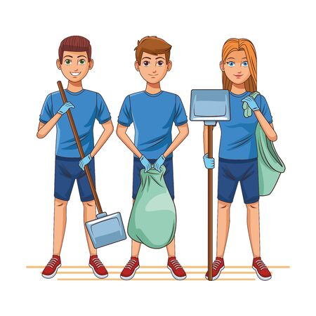 cleaning service person woman carrying dustpan and garbage bag, man carrying dustpan and man holding a garbage bag profile picture avatar cartoon character portrait vector illustration graphic design Çizim