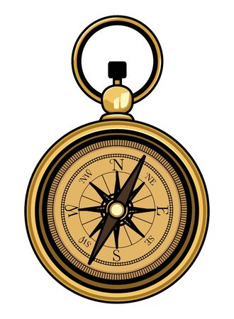 Antique navigation compass cartoon isolated vector illustration graphic design