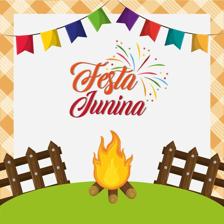 festa junina brazil invitation card concept with elements cartoon vector illustration graphic design Stock fotó - 130682221