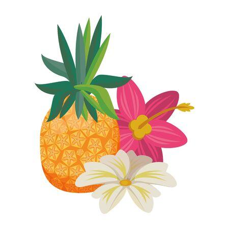 delicious tropical fruit pineapple icon cartoon vector illustration graphic design Ilustração
