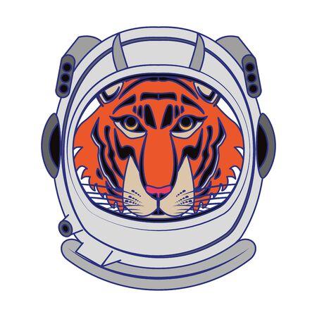 Tiger with astronaut helmet cartoon isolated vector illustration graphic design