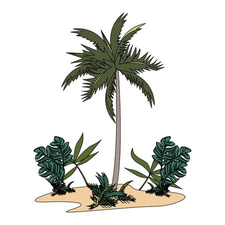 tropical summer relax holiday outdoor palm cartoon vector illustration graphic design