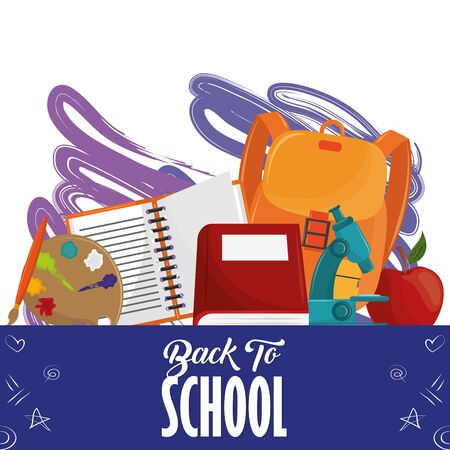 Back to school season card with colorful utensils cartoons vector illustration graphic design Çizim