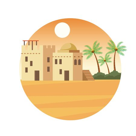India buildings in the desert at sunnyday with palms and mountains scenery cartoon vector illustration graphic design
