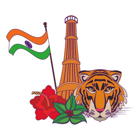indian building monuments with qutab minar, indian flag, bengal tiger and flowers decorating icon cartoon vector illustration graphic design Çizim