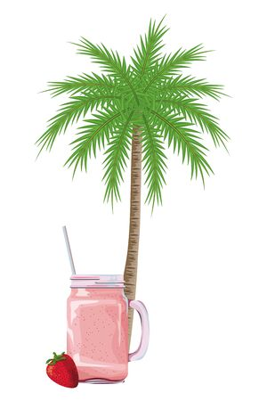 summer beach and vacation with tropical fruit, palm and smoothie drink icon cartoon vector illustration graphic design