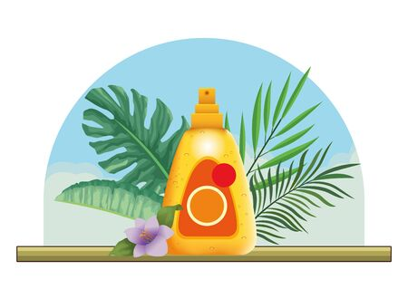 Sun bronzer splash with leaves and flower in the beach scenery background ,vector illustration graphic design.