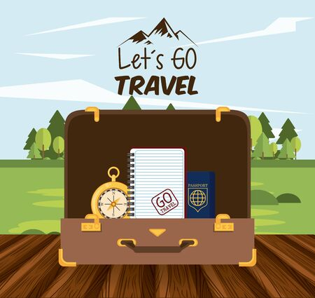 travel journey and tourism with passport, diary and compass into a briefcase over a wooden floor with a rural landscape and lets go travel sign vector illustration graphic design